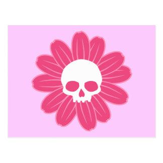 Rosa Schädel-Blume Postkarte