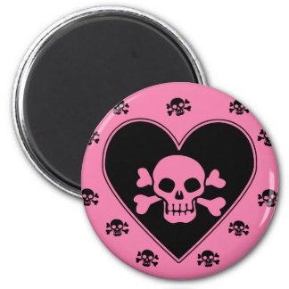 Rosa Schädel im Herzen Runder Magnet 5,1 Cm