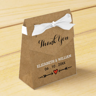 Rosa Schatze u. Pfeil-rustikale Hochzeit danken Geschenkschachtel