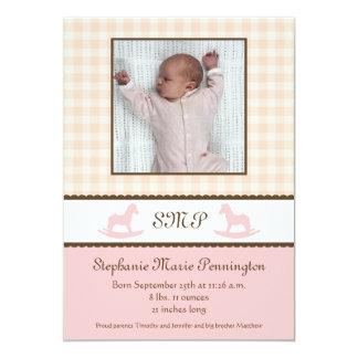 Rosa Schaukelpferd-Baby-Geburtsmitteilungen 12,7 X 17,8 Cm Einladungskarte