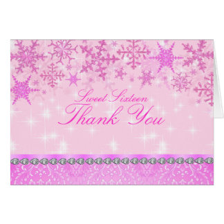Rosa Schein-Schneeflocke danken Ihnen zu kardieren Karte