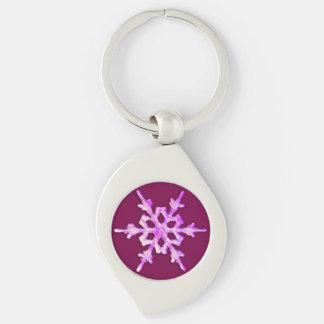 Rosa schillernde Schneeflocke Schlüsselanhänger