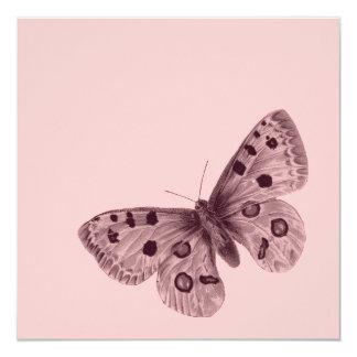 Rosa Schmetterling 16. Geburtstag Quadratische 13,3 Cm Einladungskarte