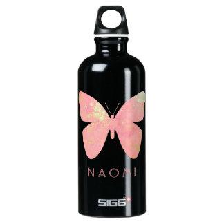 Rosa Schmetterling Aluminiumwasserflasche