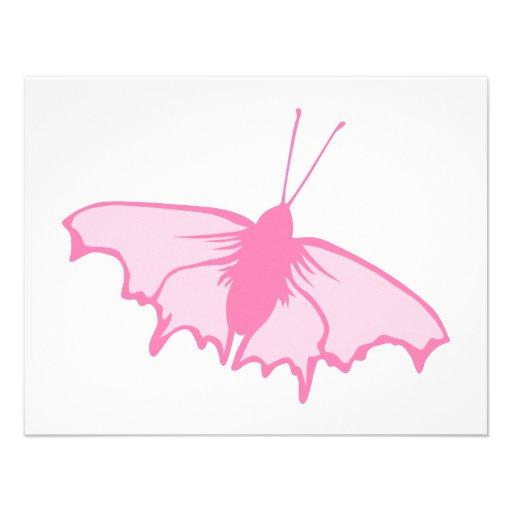 Rosa Schmetterling Personalisierte Einladungskarten