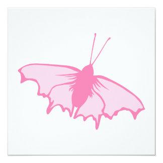 Rosa Schmetterling Quadratische 13,3 Cm Einladungskarte