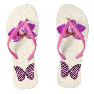 Rosa Schmetterling & rosa Orchidee Flip Flops