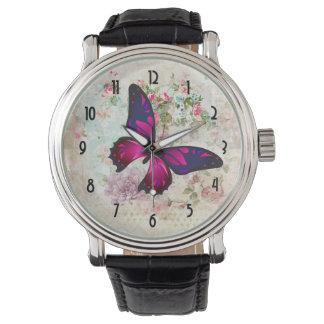 Rosa Schmetterling und schäbige Vintage Rosen Armbanduhr