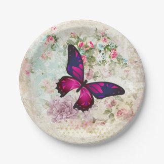 Rosa Schmetterling und schäbige Vintage Rosen Pappteller