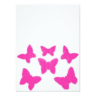 Rosa Schmetterlinge 14 X 19,5 Cm Einladungskarte