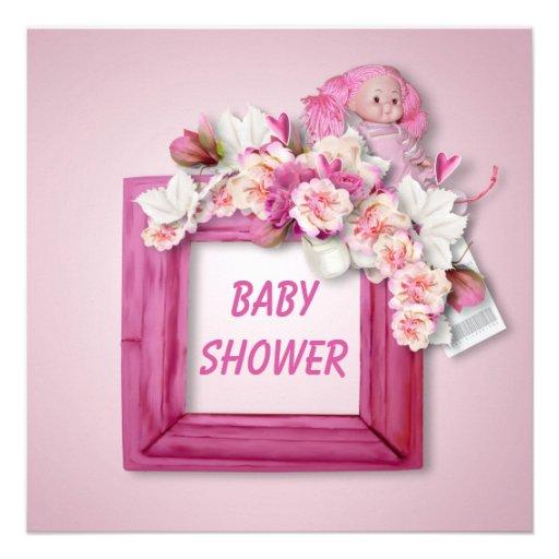 Rosa Schmetterlinge, Blumen u. Personalisierte Einladungskarte