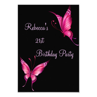 Rosa Schmetterlings-21. Individuelle Einladungen