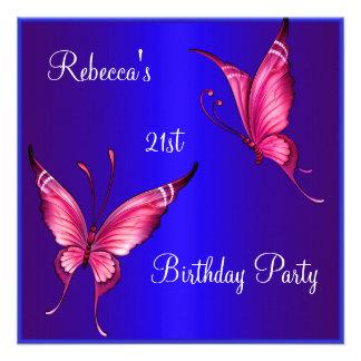 Rosa Schmetterlings-21 Geburtstags-Party-Blau Ankündigungskarten