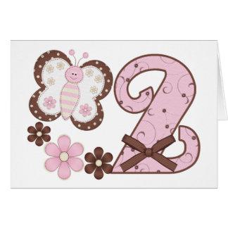 Rosa Schmetterlings 2. Geburtstags Einladungen Karte