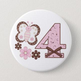 Rosa Schmetterlings-4. Geburtstags-Knopf Runder Button 7,6 Cm