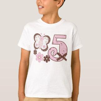 Rosa Schmetterlings-5. Geburtstag T-Shirt