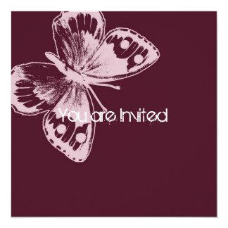 Rosa Schmetterlings-Babyparty Quadratische 13,3 Cm Einladungskarte