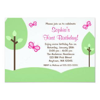 Rosa Schmetterlings-Baum-Mädchen-Geburtstag 12,7 X 17,8 Cm Einladungskarte