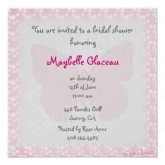 Rosa Schmetterlings-Brautparty Personalisierte Ankündigungskarte