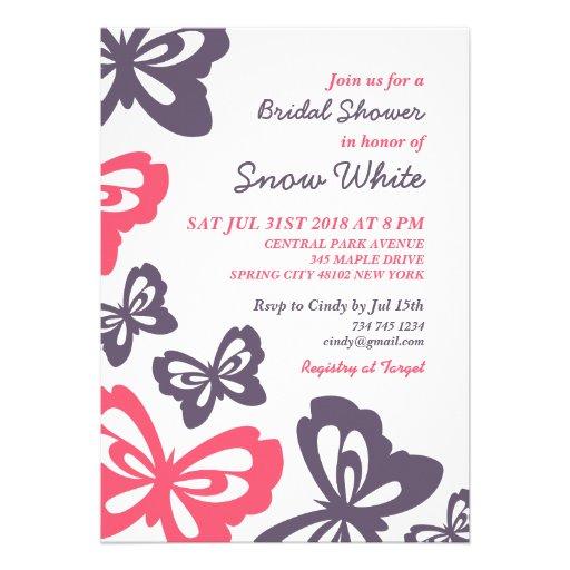 Rosa Schmetterlings-Brautparty-Hochzeits-Einladung