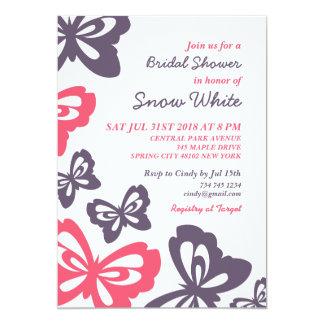Rosa Schmetterlings-Brautparty-Hochzeits-Einladung 12,7 X 17,8 Cm Einladungskarte