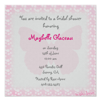 Rosa Schmetterlings-Brautparty Quadratische 13,3 Cm Einladungskarte