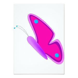 Rosa Schmetterlings-Einladungen 12,7 X 17,8 Cm Einladungskarte