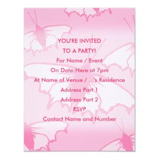 Rosa Schmetterlings-Entwurf 10,8 X 14 Cm Einladungskarte