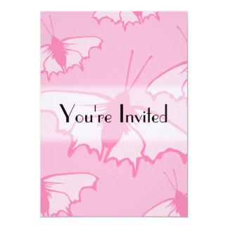 Rosa Schmetterlings-Entwurf 12,7 X 17,8 Cm Einladungskarte
