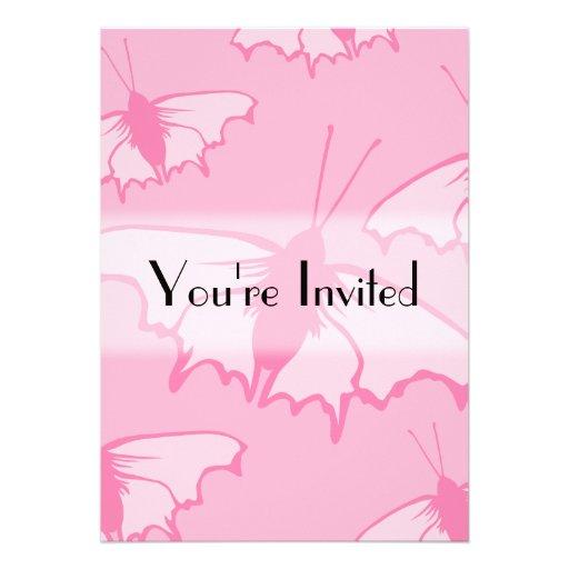 Rosa Schmetterlings-Entwurf Individuelle Ankündigungskarte