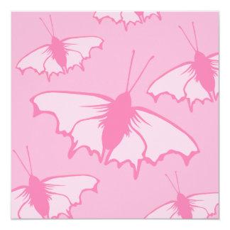 Rosa Schmetterlings-Entwurf Quadratische 13,3 Cm Einladungskarte
