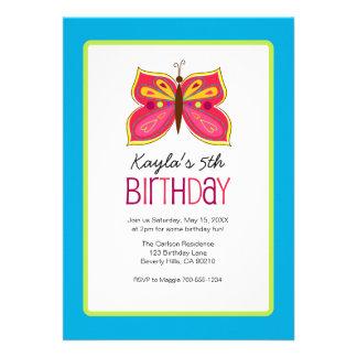 Rosa Schmetterlings-Geburtstags-Party Invitaitons Ankündigung