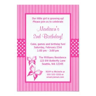 Rosa Schmetterlings-gestreiftes 12,7 X 17,8 Cm Einladungskarte