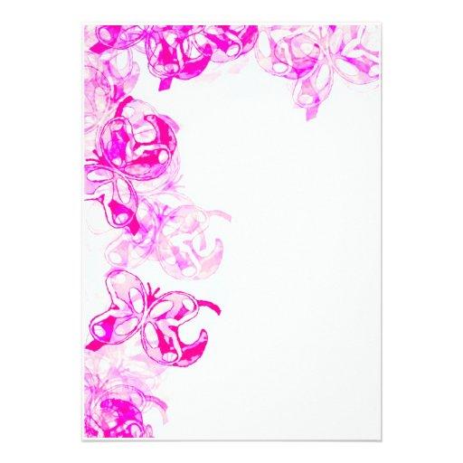 Rosa Schmetterlings-Grenze Ankündigungskarte