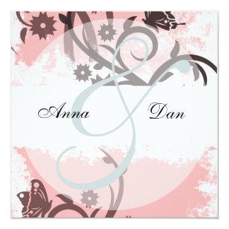Rosa Schmetterlings-Hochzeits-Einladungen Quadratische 13,3 Cm Einladungskarte