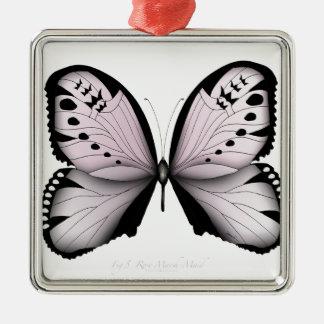 Rosa Schmetterlings-Rosen-Sumpf-Mädchen Silbernes Ornament