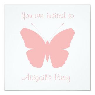 Rosa Schmetterlings-Silhouette-Entwurf Quadratische 13,3 Cm Einladungskarte