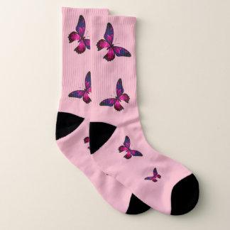 Rosa Schmetterlings-Socken, (US-Frauen großes Socken