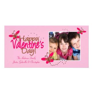 ROSA Schmetterlings-Valentinstag Foto Grußkarte