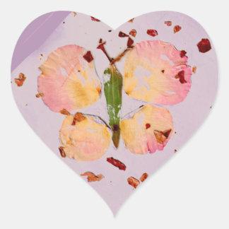 Rosa Schmetterlingslavendel hören Aufkleber, envlp Herz-Aufkleber