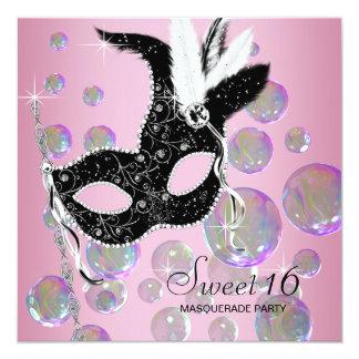 Rosa Schwarz-Blasen-16. Geburtstag-Maskerade-Party Quadratische 13,3 Cm Einladungskarte