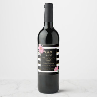 Rosa Schwarz-weiße mit Blumenstreifen Weinetikett