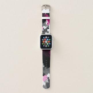 rosa Schwarz-weiße und graue Wolkenkunst Apple Watch Armband