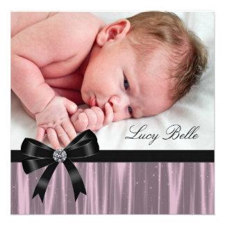 Rosa schwarze Baby-Mädchen-Foto-Geburt Ankündigungskarten