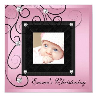 Rosa schwarze Baby-Mädchen-Foto-Taufeinladungen Quadratische 13,3 Cm Einladungskarte