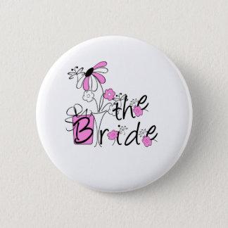 Rosa/schwarze Blumen die Braut Runder Button 5,1 Cm