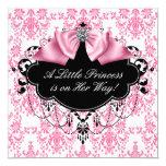 Rosa schwarze Damast-Prinzessin Babyparty Individuelle Einladungskarte