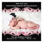 Rosa schwarze Foto-Baby-Mädchen-Geburts-Mitteilung Individuelle Einladungskarten