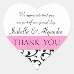Rosa schwarze Gastgeschenk Hochzeit danken Ihnen Herzaufkleber