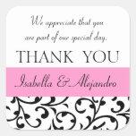 Rosa schwarze Gastgeschenk Hochzeit danken Ihnen M Stickers